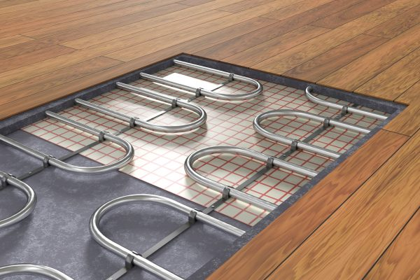 Underfloor heating under a wood floor finish