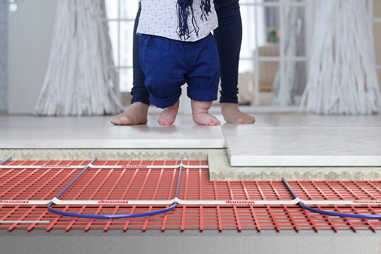underfloor heating under bathroom tiles